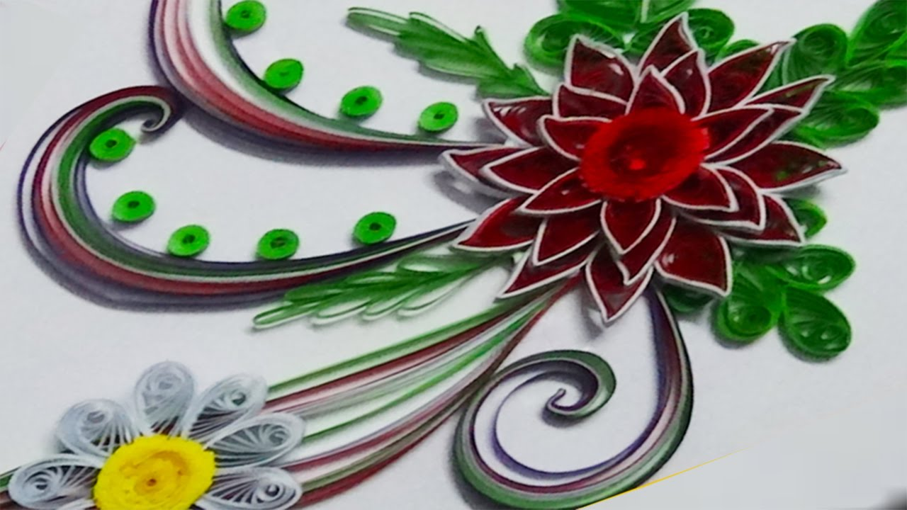 Quilling artwork a beautiful greeting card made by using for Quilling strips designs