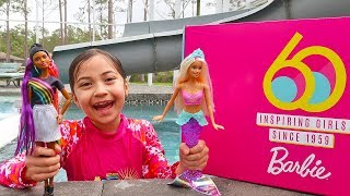Special Toy Delivery of new Barbie Toys and Pretend Play in the Pool!