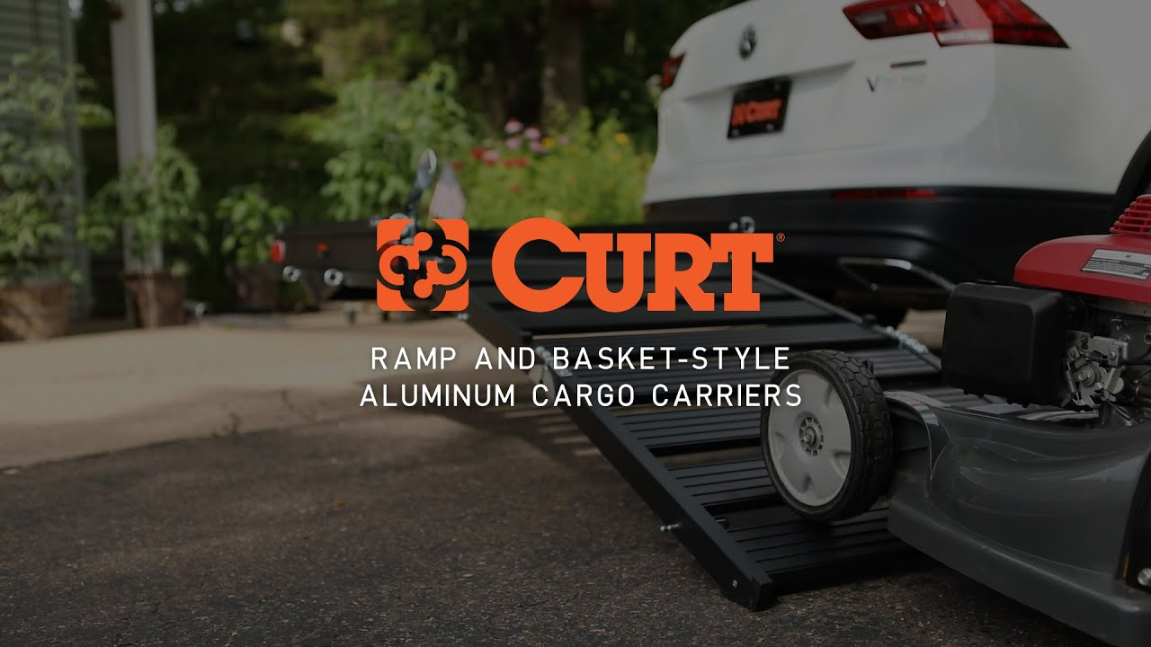 CURT Trailer Hitch Cargo Carrier with Double-Folding Ramp