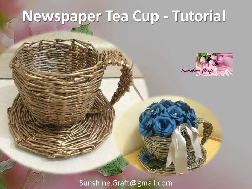3d Wallpaper Made In China D I Y Newspaper Tea Cup 1 Tutorial Youtube