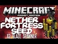 MCPE 0.12.0 NETHER FORTRESS DOUBLE BLAZE SPAWNER SEED - Minecraft PE (Pocket Edition)