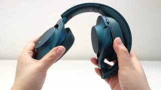 unboxing the sony h ear on wireless nc mdr 100abn in viridian blue wireless headphones