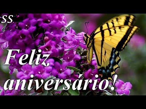 Feliz Aniversário Mensagem Com Borboletas E Lindas Flores Whatsapp