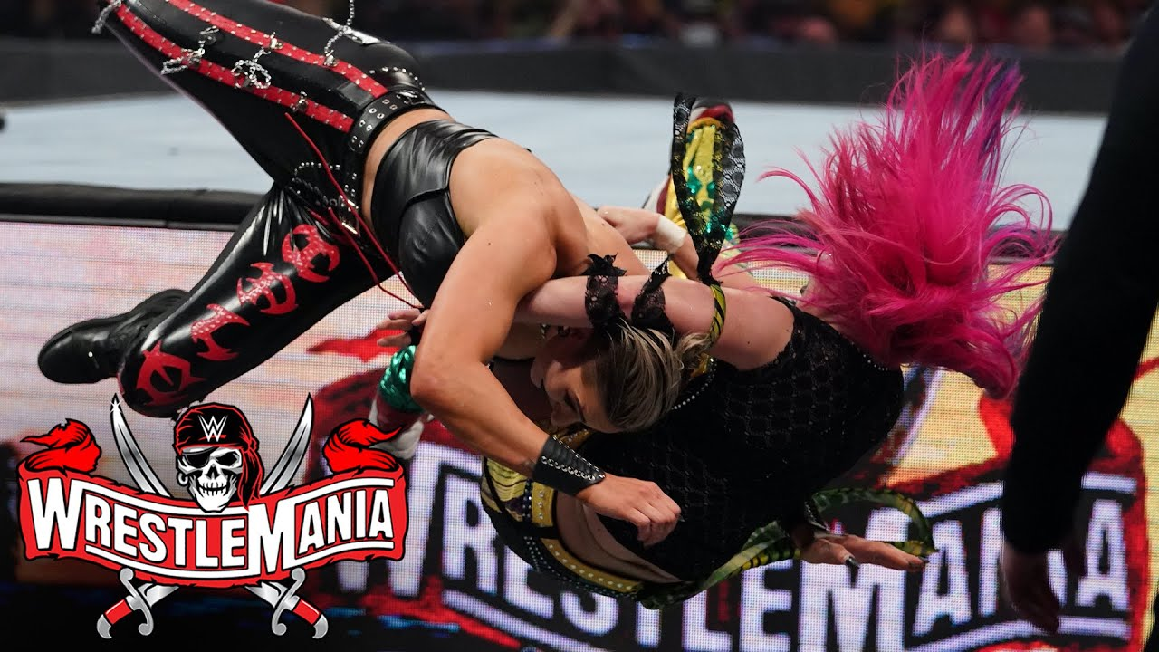Asuka plants Rhea Ripley with DDT off the apron: WrestleMania 37 – Night 2 (WWE Network Exclusive)