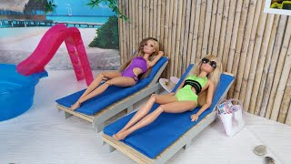 Two Barbie Two Ken Christmas Vacation on Tropical Island. Pool set for Dolls.