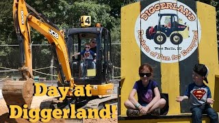 Day at DIGGERLAND!  Bulldozers, Stunt Show, Excavator LIVE ACTION!