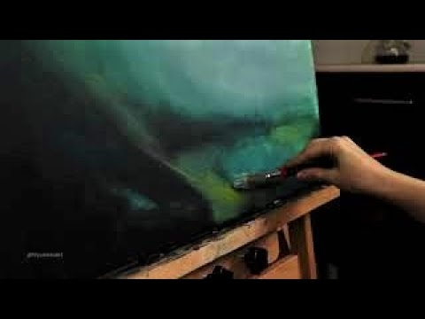 Mysterious lake from a dream | Abstract landscape painting with acrylic on canvas. 1/4