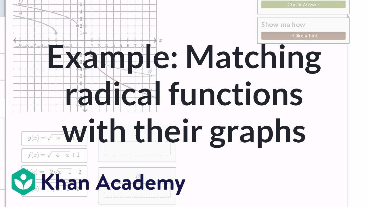 Matching radical functions with graphs exercise example