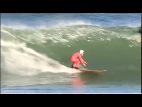 "Roy Stuart Surfboards: twelve foot ""Ghost' on point break waves New Zealand"