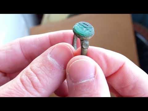 medieval seal ring, stones gem crucifix