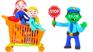 HULK POLICE STOPS SUPERMARKET CART ❤ Spiderman, Hulk & Frozen Play Doh Cartoons For Kids