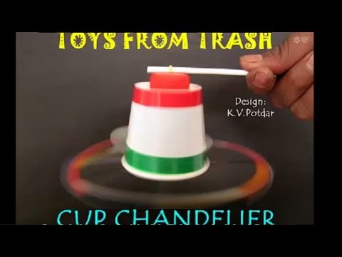 CUP CHANDELIER - HINDI - Spin a cup with a rubber band! - YouTube