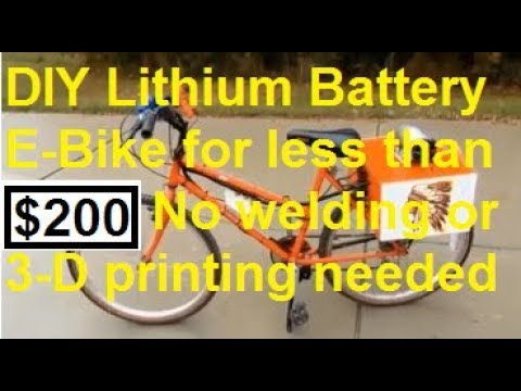 Cheap Simple Easy DIY Homemade lithium e-bike $200 affordable electric bicycle 1000 watt 54v Free