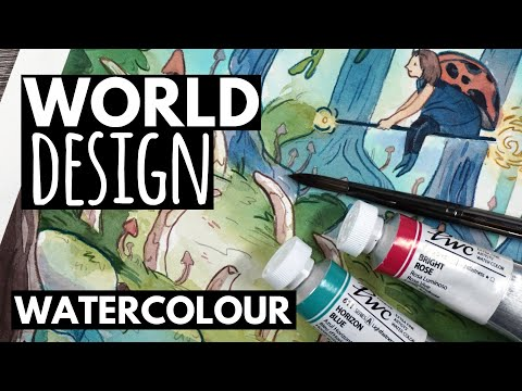Character & WORLD Design – My Full Design Process (Watercolour)