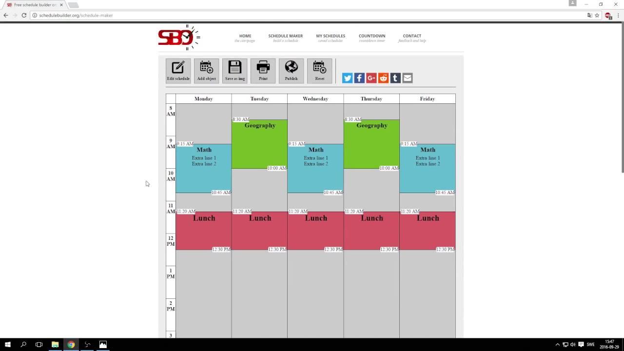 free schedule builder online
