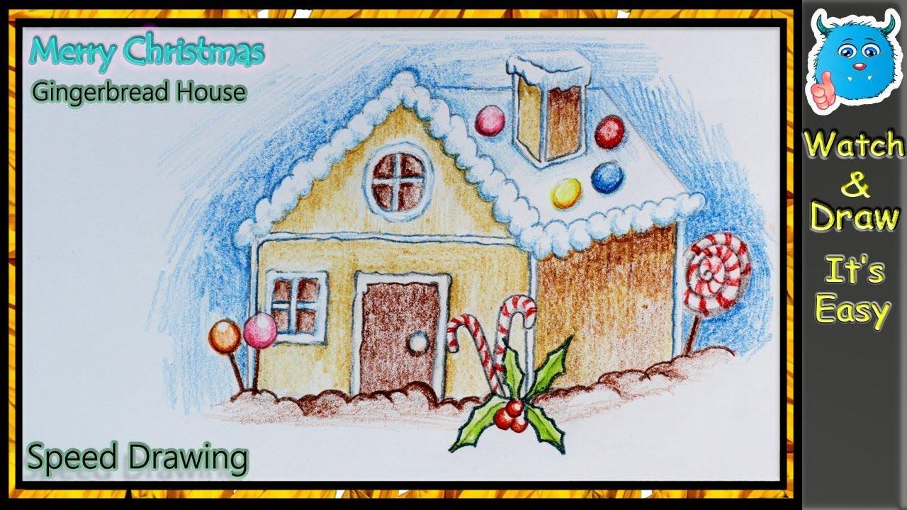 Christmas Gingerbread House Drawing.Christmas Gingerbread House Drawing For Beginners Easy