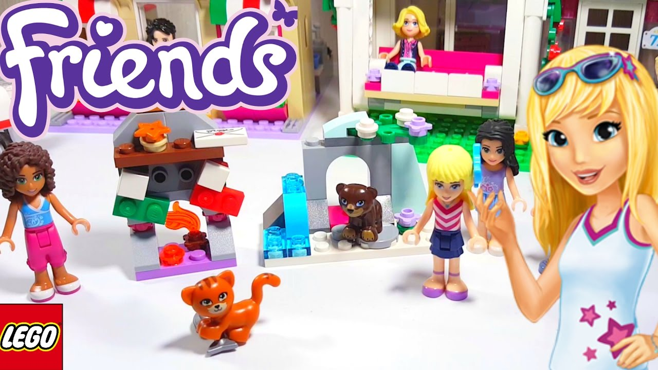 Lego Friends Christmas Sets.Lego Friends Christmas Fireplace And Biscuit The Bear In The Snow Cave Polybags Building Review