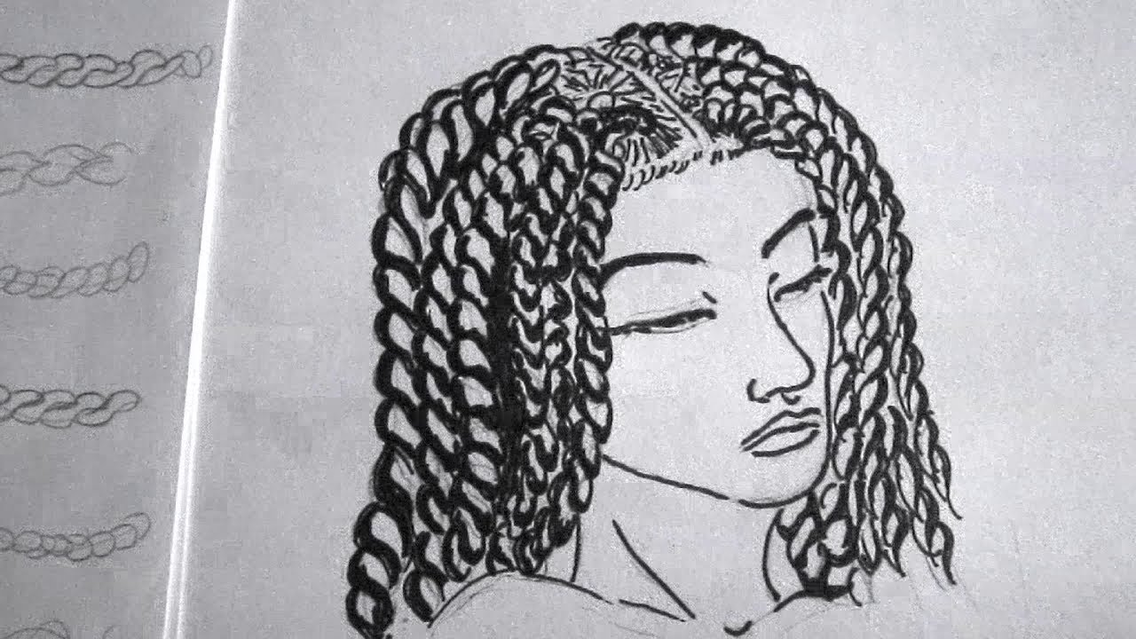 How to Draw twists (senegalese twists) - YouTube