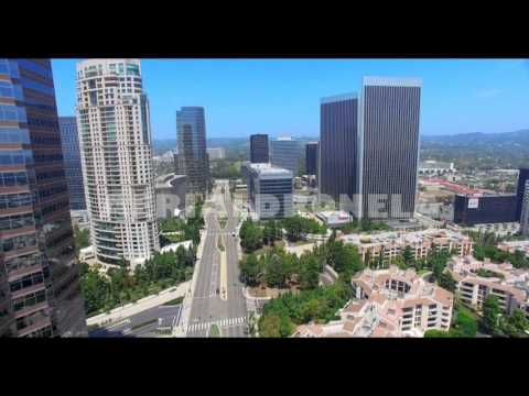 4K, Aerial view of Century City skyline skyscrapers, Los Angeles, California