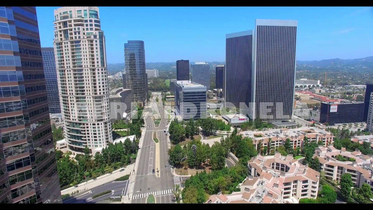 4K, Aerial view of Century City skyline skyscrapers, Los Angeles ...