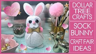 Dollar Tree Sock Bunny DIY -  No Sew Sock Bunny - Craft Fair Ideas - Kids Crafts - Sock Animals