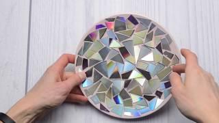 DIY тарелка из старых дисков | Мозаика из дисков | Декоративная тарелка из CD дисков
