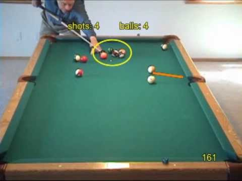 """Pool and billiards """"Loop"""" game and drill for practicing carom shots, from VEPP V (NV C.18)"""