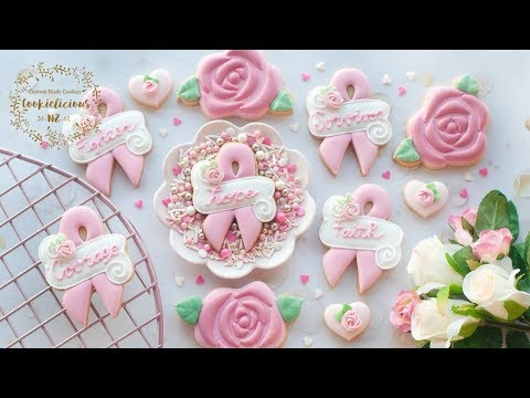 How To Make PINK RIBBON & ROSE Cookies ~ Breast Cancer Awareness