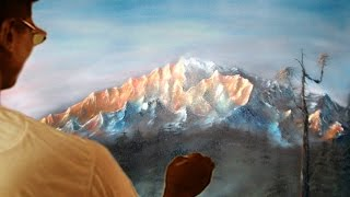How to draw - lighted hill by the sun rise at dawn Oil Painting