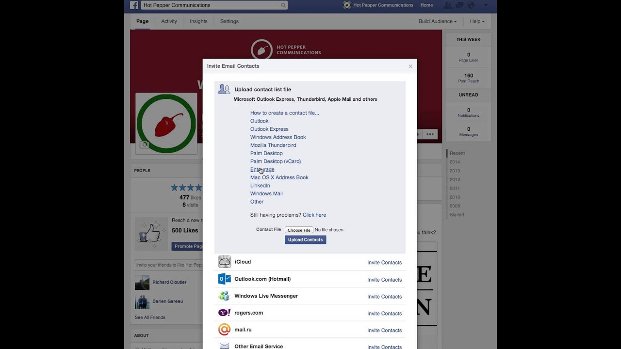 How to invite your email contacts to like your Facebook page YouTube