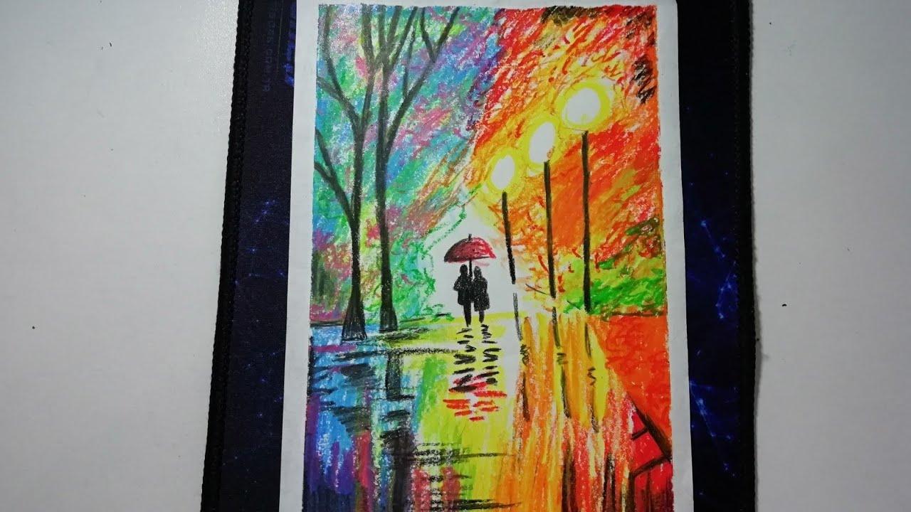 Kolay Pastel Boya Resim Yagmurlu Hava Manzara Cizimi Youtube