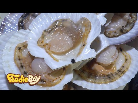 Raw Scallops / Korean Street Food / Noryangjin-Dong, Seoul Korea