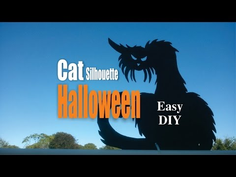 DIY Easy Cat Silhouette Halloween Decorations