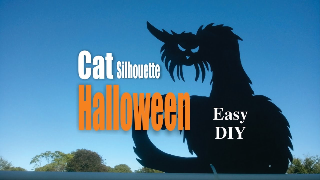 diy easy cat silhouette halloween decorations - youtube