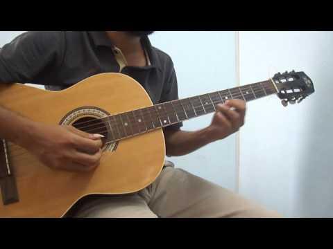 How to Ennavale (A R Rahman) with Slides on Acoustic Guitar (Raga Kedaram, Kathalan)
