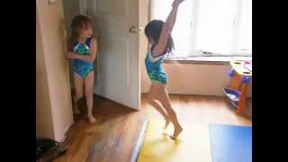 twin gymnasts get their back walkover on the same day