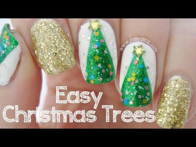 Easy Christmas Tree Nail Art YouTube