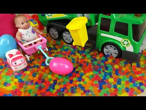Thumbnail: Baby doll and Dirt cart Surprise eggs color candy Kinder Joy toys