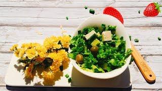 Зелёный салат с брынзой и оливками.