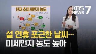 [날씨] 내일도 포근한 날씨…대부분 미세먼지 '나쁨' / KBS 2021.02.12.