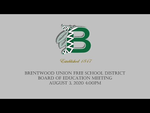 Board Of Education Meeting August 3, 2020