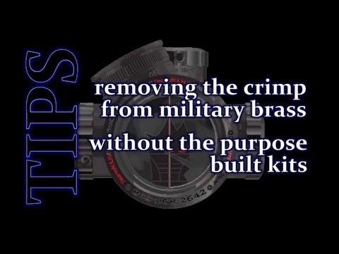 tip removing the primer crimp on military brass youtube. Black Bedroom Furniture Sets. Home Design Ideas