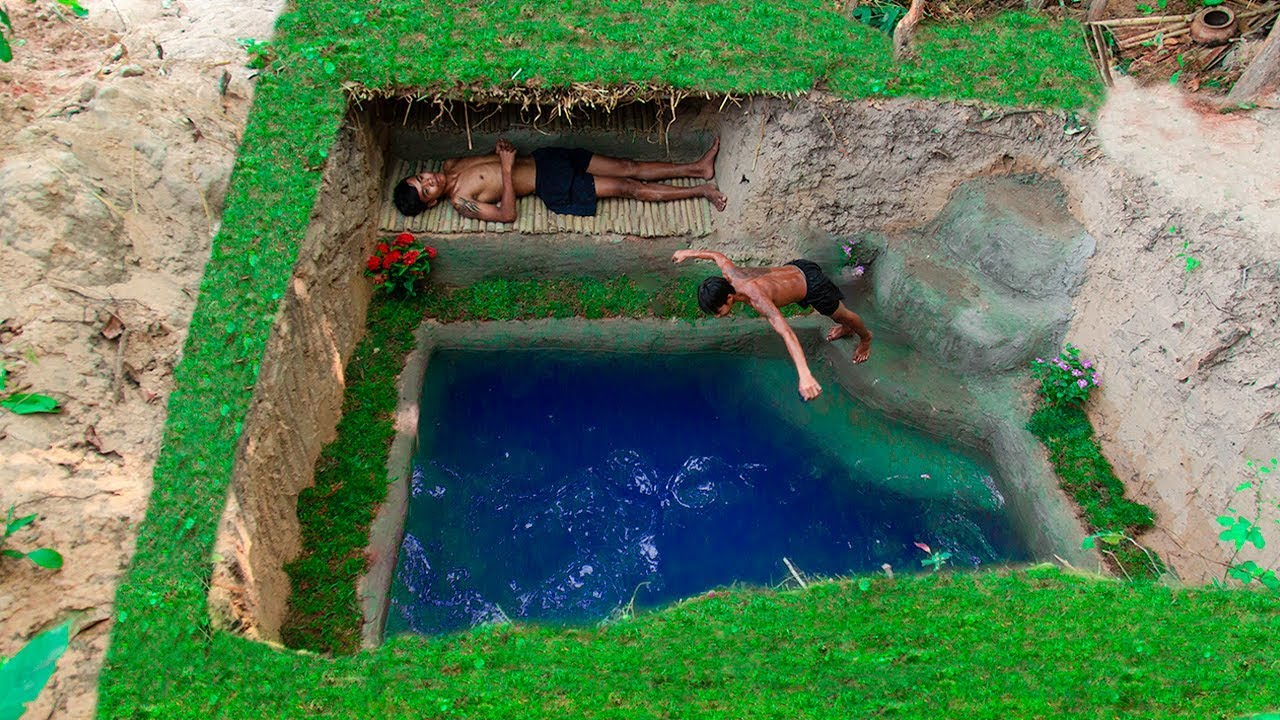 Dig to build most Awesome Underground house and Underground swimming pool at wild