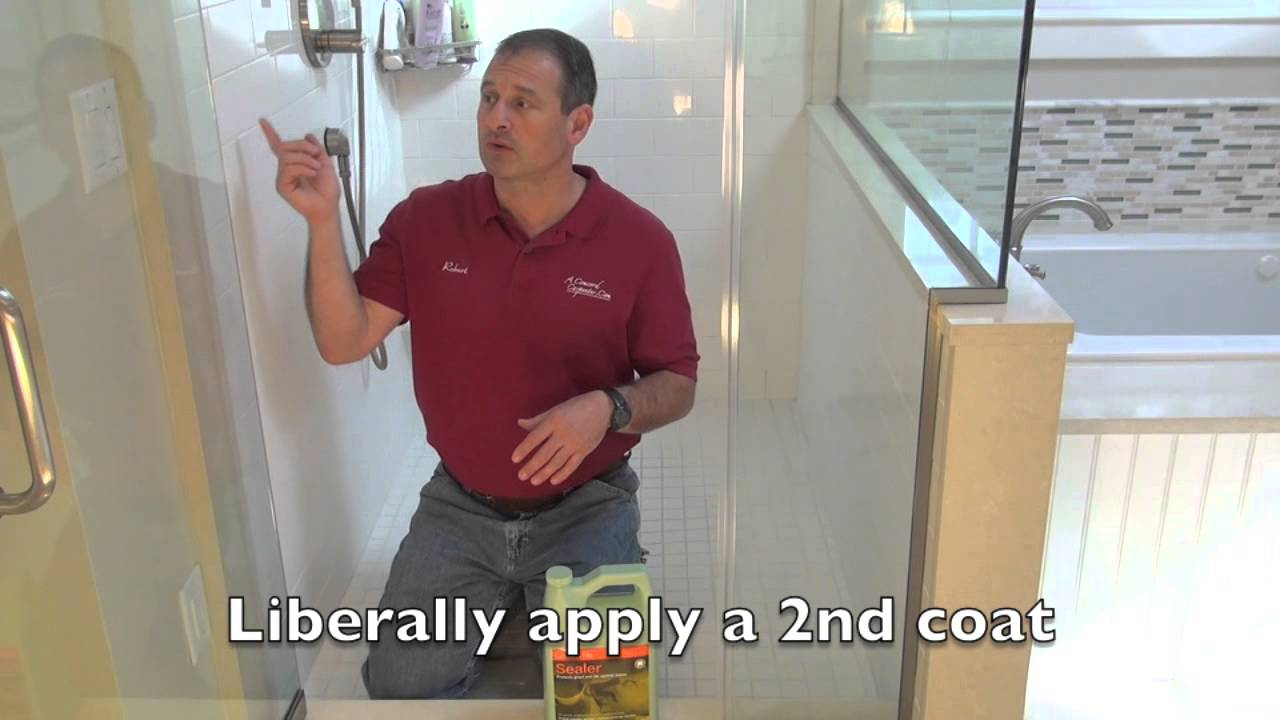 Sealing Bathroom Tile Remodeling A Bathroom Part 15 Sealing Tile Grout Youtube