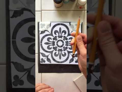 Рисунок на плитке в ванной своими руками