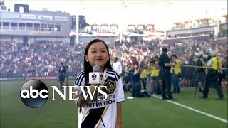 7-year-old sings national anthem before packed MLS crowd