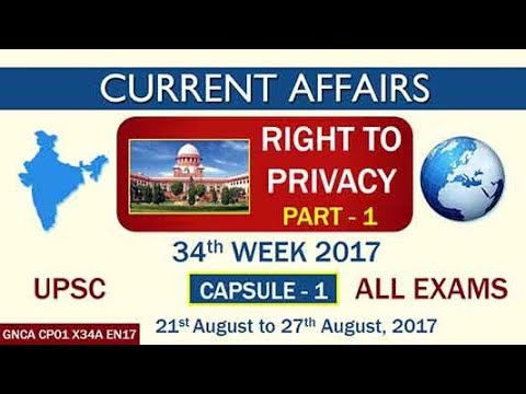 """""""RIGHT TO PRIVACY"""" CAPSULE-1 of 34th Week (21st August to 27th August) of 2017"""