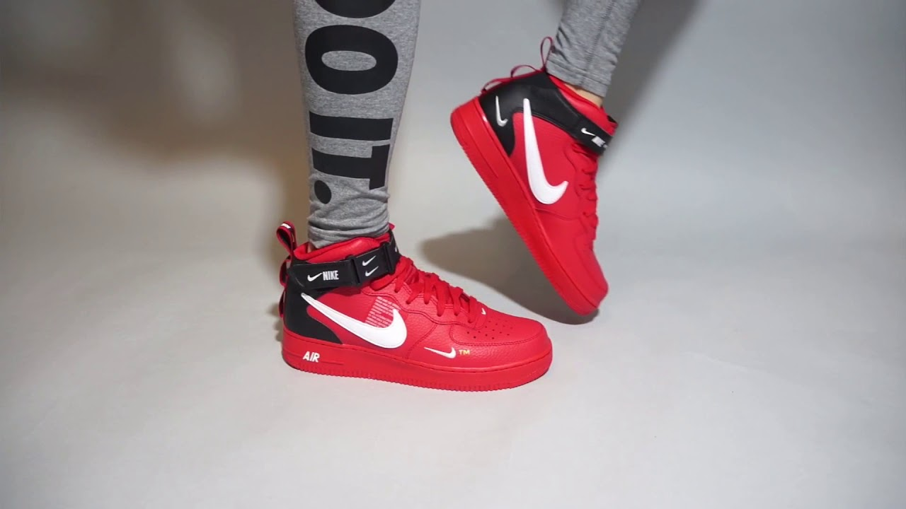 b2b13c658d80 Nike Air Force 1 Mid  07 LV8 University Red White 804609-605 on feet ...