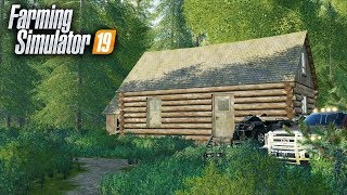 FS19- BUILDING A CAMPING LODGE! ADDING LOG CABIN, CLEARING TRAILS & PROVIDING ATVS