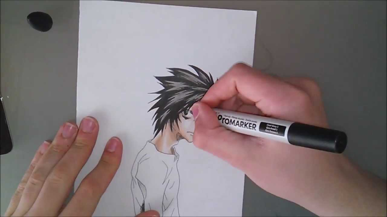 How to draw L Death Note / Comment dessiner L - YouTube